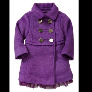 Baby gap purple wool mix sparkling coat with lace